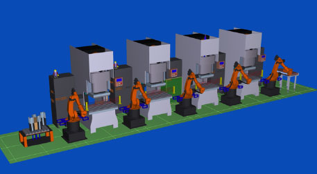 Stamping Multiple Connected Robots Blanking Benefit Analysis